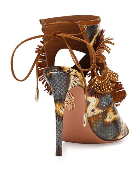 Snakeskin Fringe Cutout Sandal, Honey/Berry