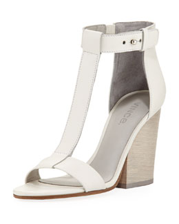 Vince Nolan Split-Wedge Leather Sandal, Vanilla