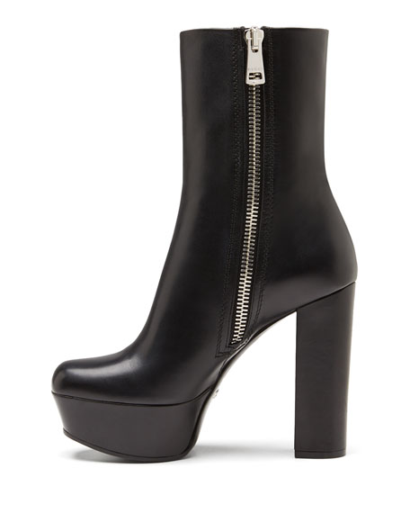 0e6844104966 Gucci Leather Side-Zip Platform Boot