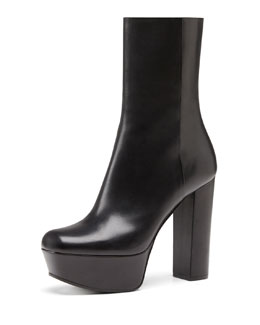 Gucci Leather Side-Zip Platform Boot, Nero