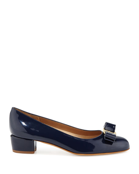 Vara 1 Patent Bow Pumps, Oxford Blue