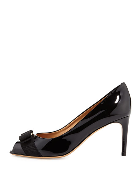Patent Peep-Toe Bow Pump, Nero