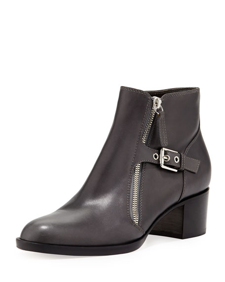 Leather Bootie with Buckled Side Zip, Black