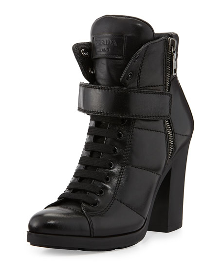 Chunky Lace-Up Leather Bootie
