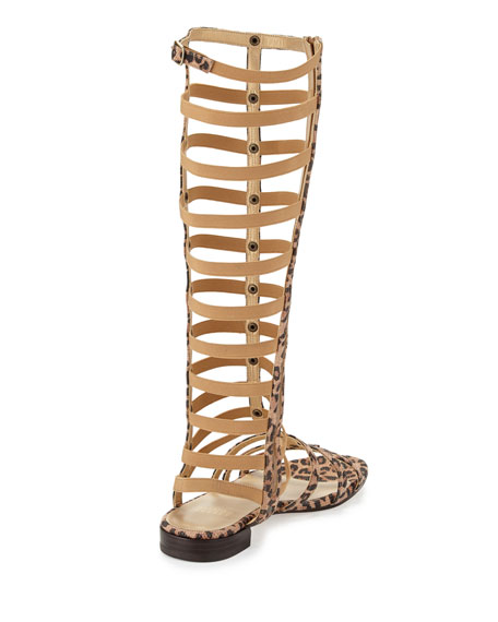 Gladiator Tall Suede Sandal, Tan Leopard