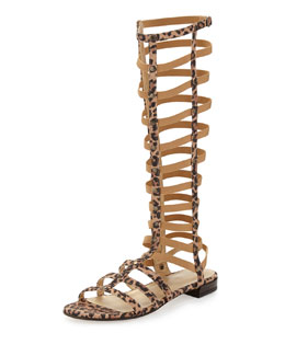Stuart Weitzman Gladiator Tall Suede Sandal, Tan Leopard (Made to Order)