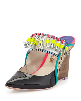 Sophia Webster Samia Tribal Calf Hair/Patent Wedge Mule, Black Leopard