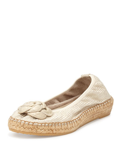 Cleo Embossed Espadrille Flat, Gold