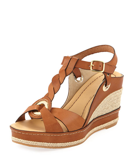 Phillie T-Strap Espadrille Wedge, Brown