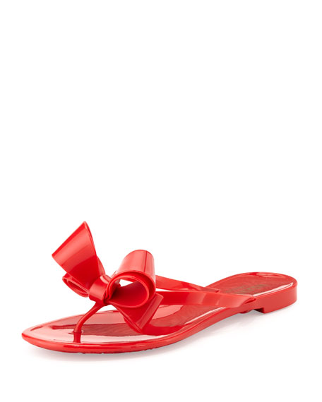 Couture Bow Jelly Flat Thong Sandal, Red