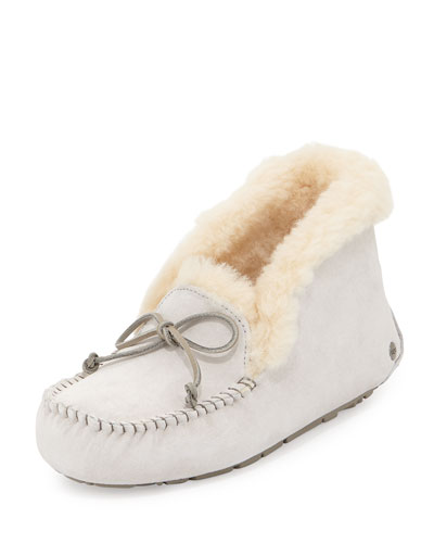Alena Collared-Tie Slipper, Salt