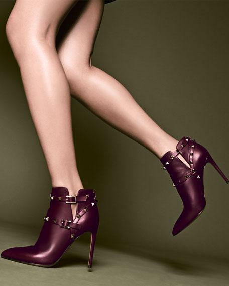 Valentino Rockstud Harness Ankle Boot, Wine