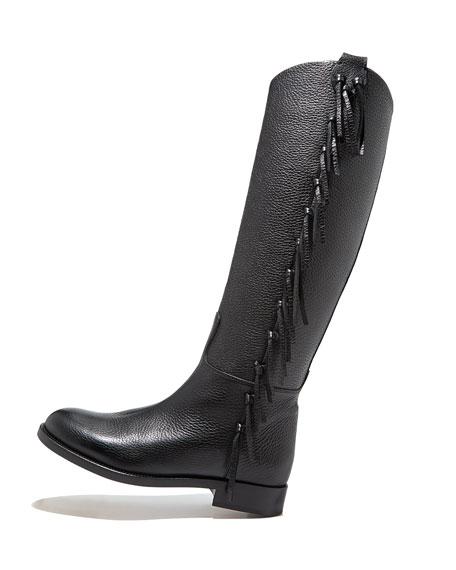 Valentino Side Fringe Flat Knee Boot, Black