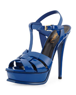Saint Laurent Tribute Patent Platform Sandal, Bourgogne