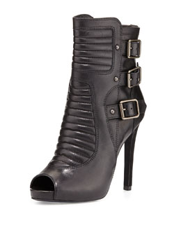 Ash April Stiletto Leather Buckle Bootie, Black