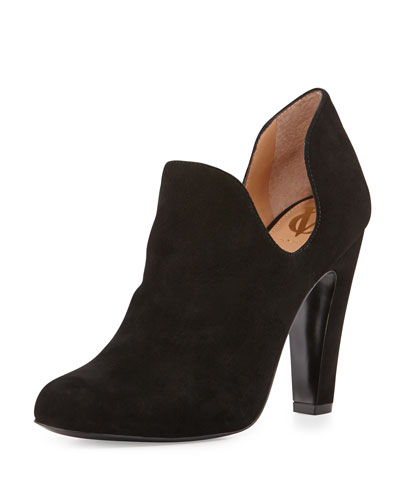 Gabel Dipped Suede Ankle Boot, Black