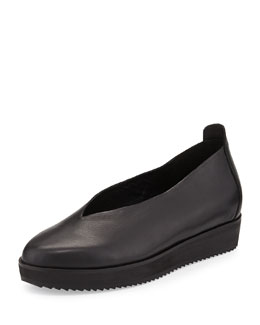 Eileen Fisher Canoe 2 Leather Slip-On, Black