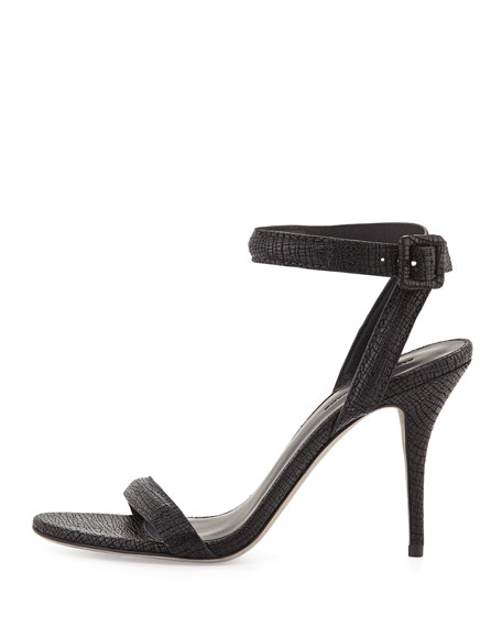 Antonia Textured Leather Ankle-Wrap Sandal, Black
