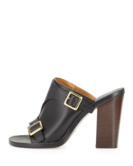 Buckled Stacked-Heel Slide Sandal, Black