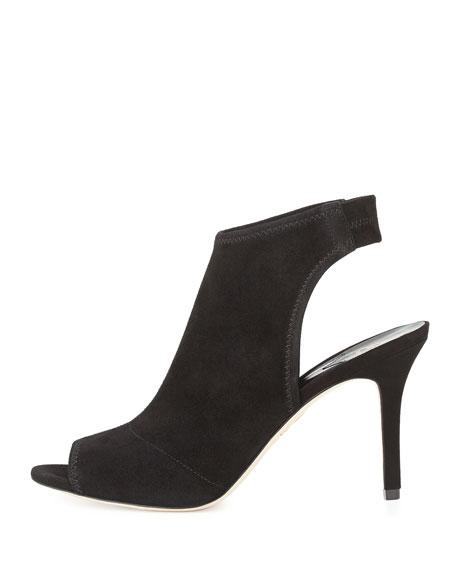 Elliana Suede Peep-Toe Sandal, Black