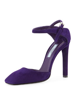Prada Suede Closed-Toe Mary Jane Sandal, Viola