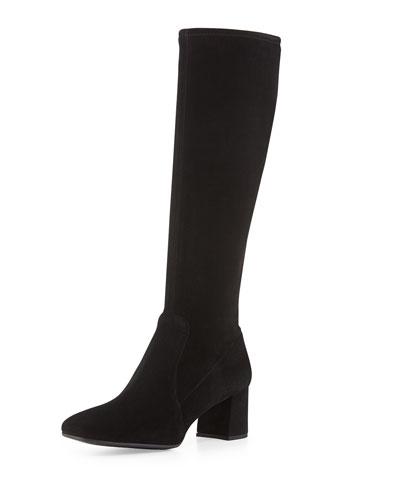 Prada Low-Heel Stretch Suede Knee Boot, Nero