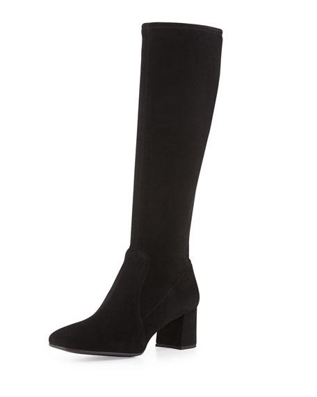 Low-Heel Stretch Suede Knee Boot, Nero