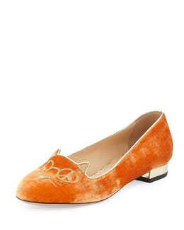 Charlotte Olympia Hippy Kitty Velvet Slipper, Orange