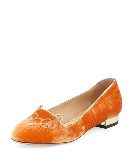 Hippy Kitty Velvet Slipper, Orange