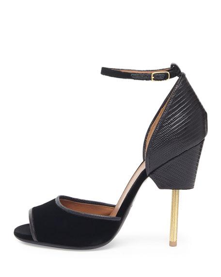 Givenchy Velvet & Lizard Runway Sandal, Black