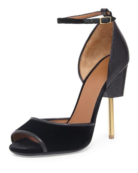 Velvet & Lizard Runway Sandal, Black