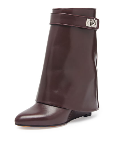 Givenchy Leather Shark-Lock Ankle Bootie, Burgundy