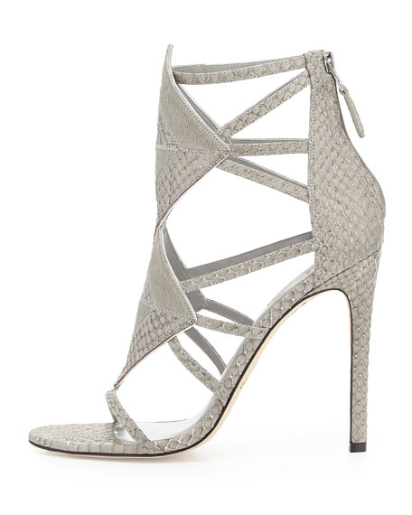Luanna Mixed Media Sandal, Light Gray