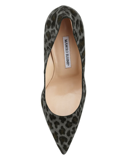 BB Suede 115mm Pump, Gray Leopard