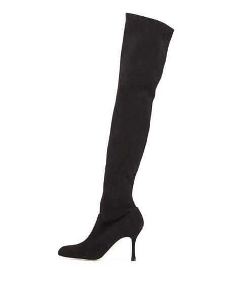 bedfc1c151184 Manolo Blahnik Pascaputre Suede Over-the-Knee Boot, Black