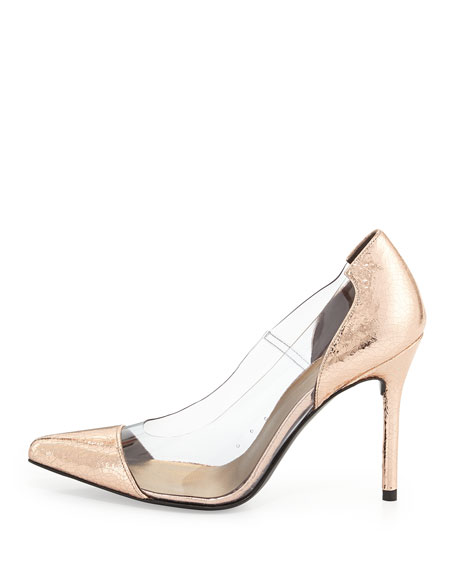 Onview PVC/Metallic Leather Pointed-Toe Pump, Copper