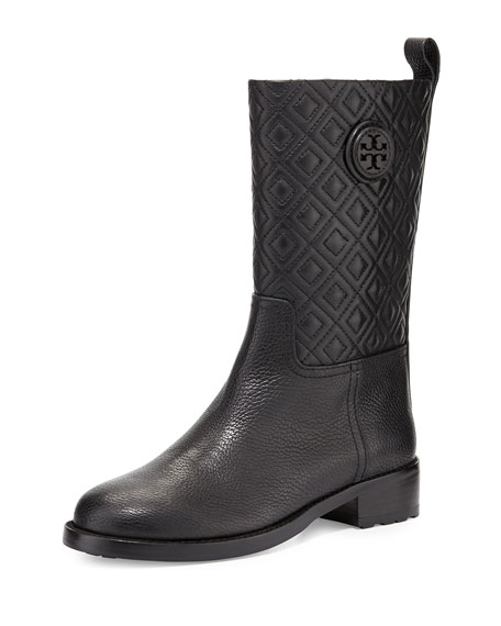 Marion Quilted Leather Boot, Black