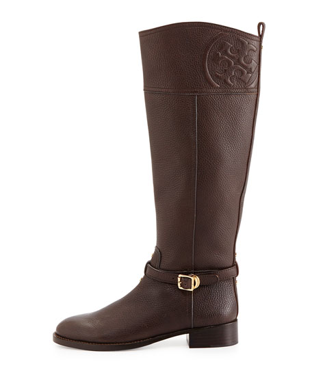 Marlene Leather Riding Boot, Coconut