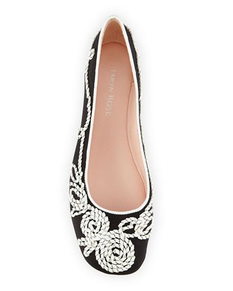 Bubka Embroidered Ballerina Flat, Black