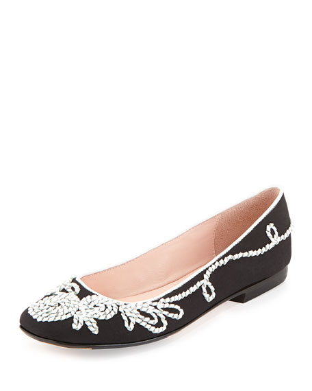 Taryn Rose Bubka Embroidered Ballerina Flat, Black