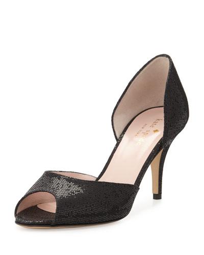 sage peep-toe glitter d'Orsay pump, black