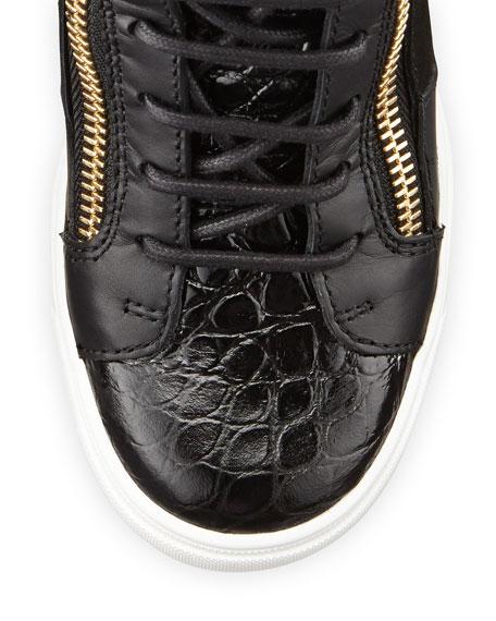 ae6df4cb893bd2 Giuseppe Zanotti Crocodile-Print Fur Wedge Sneaker