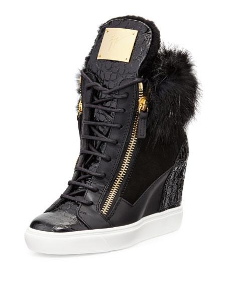 Giuseppe Zanotti Crocodile-Print/Fur Wedge Sneaker, Black