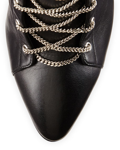 Chain-Trim Boxer Bootie, Black