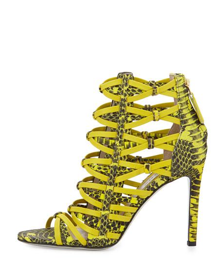 Strappy Snake-Print Leather Sandal, Citron
