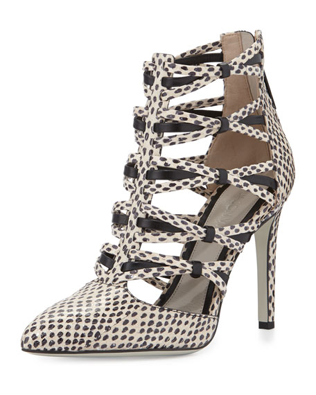 Strappy Snakeskin Ankle Bootie, Nude/Black