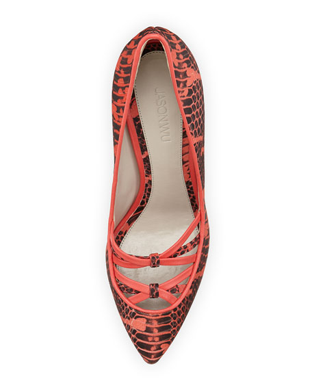Snake-Print Leather Crisscross Pump, Red