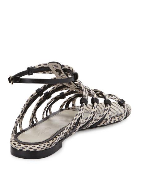 Snakeskin Strappy Flat Sandal, Nude/Black