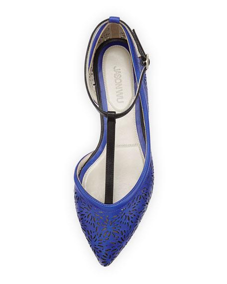 Laser-Cut Ankle-Strap Flat, Blue