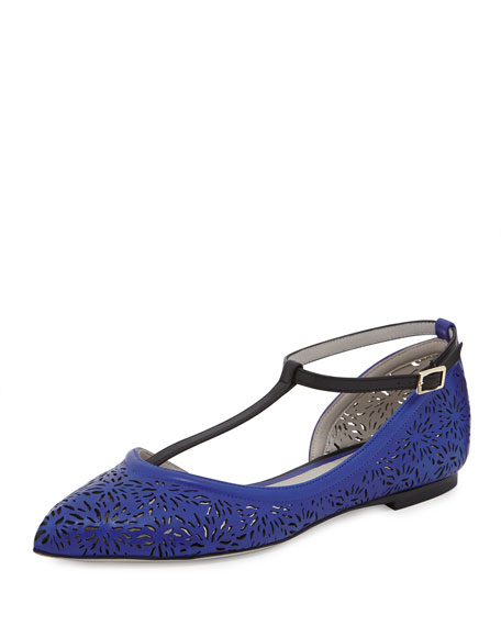 Jason Wu Laser-Cut Ankle-Strap Flat, Blue